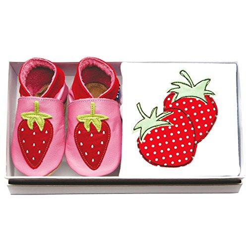 Inch Blue Mädchen/Jungen Baby-Geschenkset - Lederschuhe & Strampler Aus Baumwolle - mit Stickerei Verziert - Erdbeeren Rosa