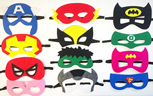 Hero Villain Party Costumes (Superheroes Party Masks For Kids Boys Girls | 12 Pieces Favors | By ToysoutletUSA)