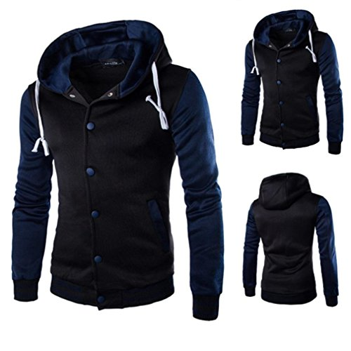 Enthone Men Hoodies Coat, Men's Winter Slim Warm Hooded Sweatshirt Jacket Button Baseball Coat NavyLarge - Highland Dress Jackets
