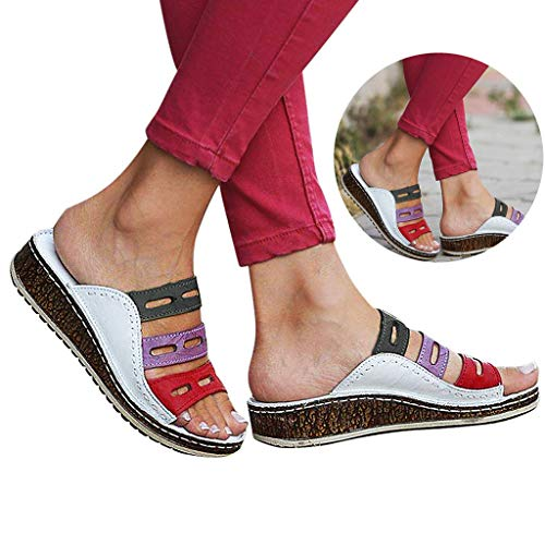 Woman Girls Three-Arch Support Slippers Retro PU Leather Sport Flip Flops Comfy Slingback Open Toe Wedged Beach Sandals Shoes (White, 5.5 M US)
