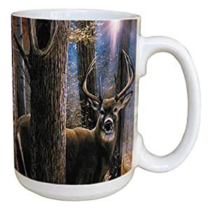 Tree-Free Greetings 45520 Kevin Daniel Woodland Sentry Buck Ceramic Mug with Full-Sized Handle, 15-Ounce