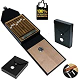 COMMODA Portable Leather Cedar Cigar Travel Case Cedar Wood Lined Humidor with Hygrometer for 10 Cigars Cigar Stand as Value-Added Gift Beautiful