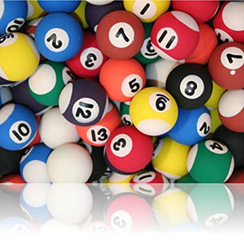 Custom & Unique {27mm} 5 Lot Pack, Mid-Size Super High Bouncy Balls, Made of Grade A+ Rebound Rubber w/ Vintage Hipster Bar Club Pool Hall Table Billiards Sport's Game Numbered Ball Style (Multicolor)