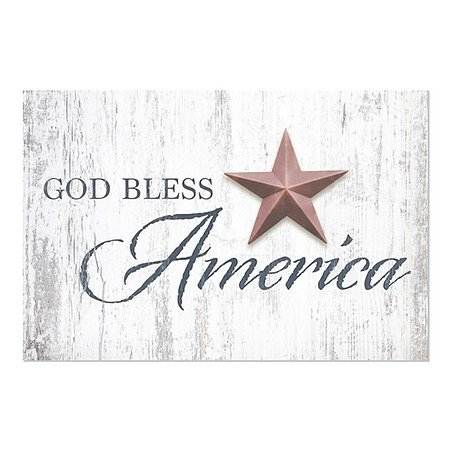 CGSignLab | ''God Bless Star'' Repositionable Opaque White 1st Surface Static-Cling Non-Adhesive Window Decal (5-Pack) | 30''x20'' by CGSignLab