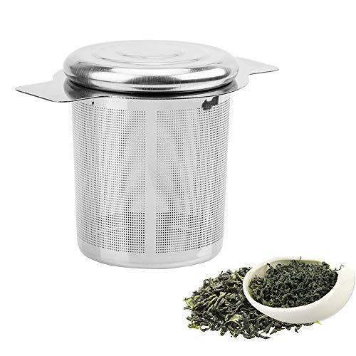 iTimo - Colador de te reutilizable de malla fina, con 2 asas, tapa de acero inoxidable, filtro de te y cafe