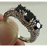 by lucky Women 925 Sterling Silver Black Sapphire Ring Wedding Engagement Fashion Jewelry (7)