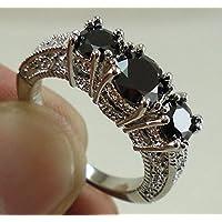 Charming Women 925 Silver Black Sapphire Three Stone Ring Engagement Wedding (8)