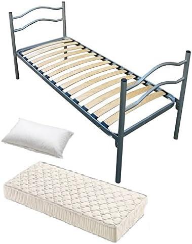 Cama individual de hierro 80 x 190 con somier a completo de colchón y almohada