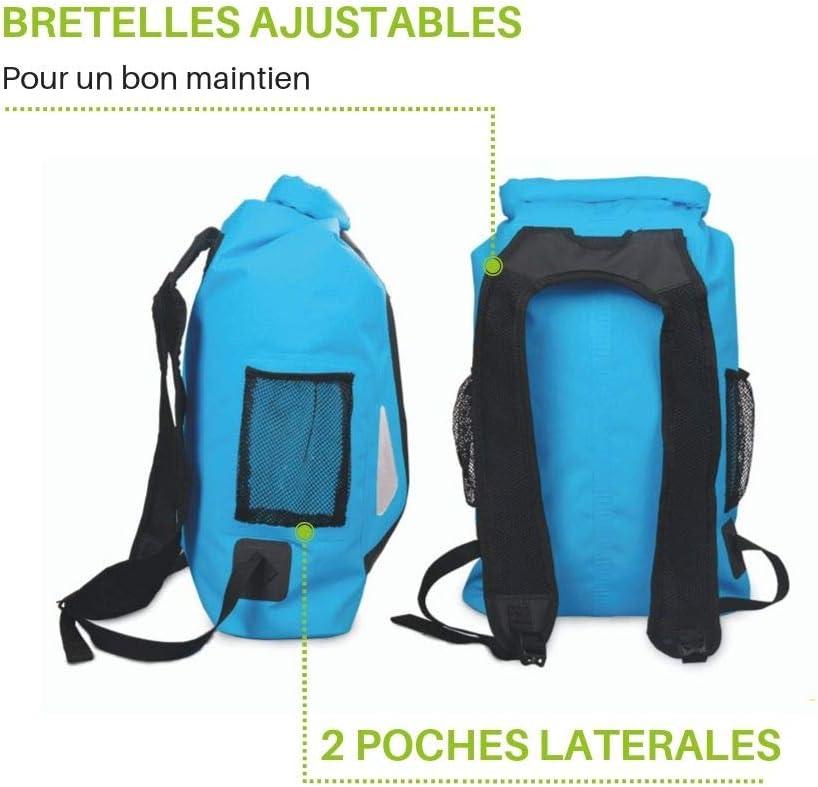 Wantalis Sac /à dos /étanche Bleu 25 litres 1 poche zipp/ée et 2 poches filets Taille 45x32x20 cm