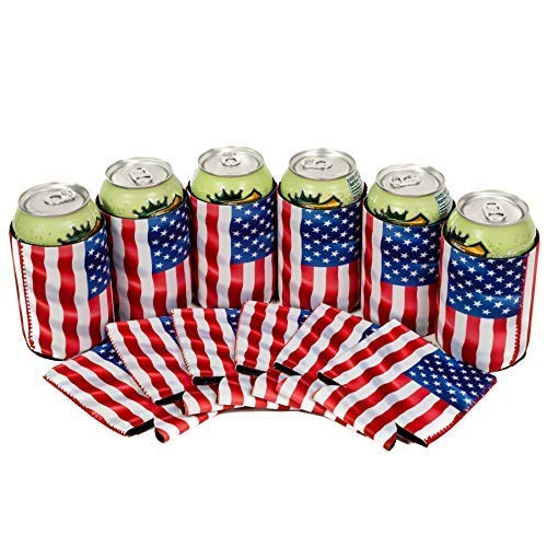 QualityPerfection - Set Of 6 - USA Flag Wind Neoprene Can Cooler Sleeve Collapsible Coolie Economy Bulk Insulation with Stitches Perfect 4 Events,Custom DIY Projects Variety of Colors - American Drink Beer