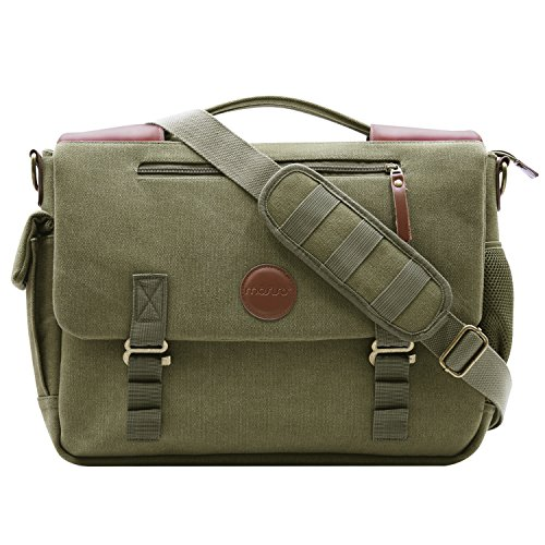 MOSISO Canvas Messenger Bag (up to 15.6 Inch) with Handle and Various Pockets Compatible Laptop, Notebook, MacBook, Ultrabook and Chromebook Computers, Olive Green