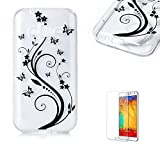 For Samsung Galaxy J1 Mini Prime Case [with Free Screen Protector].Funyye Crystal Transparent Soft TPU Fashionable Pattern Design Shock Proof Protective Cover Case for Samsung Galaxy J1 Mini Prime-Black Vine