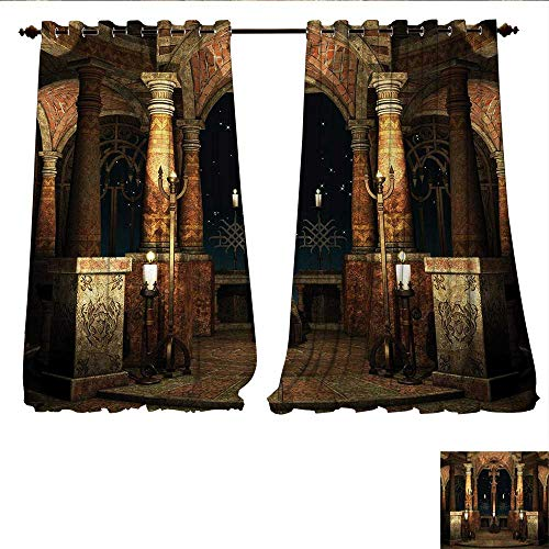 Window Curtain Fabric Dark Mystic Ancient Hall with Pillars and Dome Shrine Building Illustration Drapes for Living Room W96 x L108 Ivory Brown Black