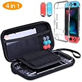 HEYSTOP Nintendo Switch Carrying Case (4 in 1 Accessories Kit: Switch Carrying Case, Clear Case Dockable, Tempered Glass Screen Protector, Thumb Grips Caps)