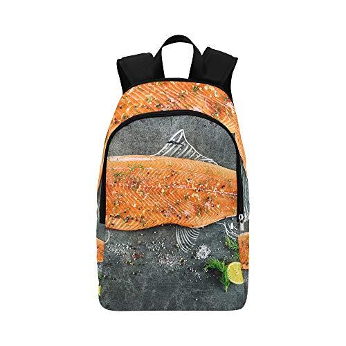 (Backpack Shoulder Bag Delicious Salmon Fillets for Men Women Children Bookbag School Bag Stability College Holiday for Camper)