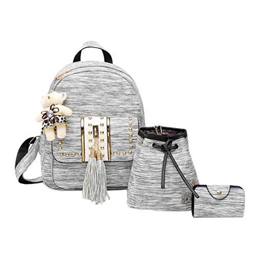 dos Rucksack dos VHVCX Backpack2018 Gray Femme à Set Filles à femmes étudiant Sac 3Pcs Adolescent Sac Ours Sac cuir Pu d'école Tassel Femmes CwTw71Xpq