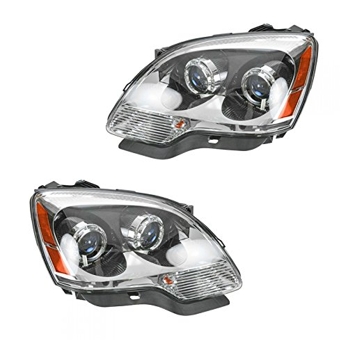 (Headlights Headlamps w/Blue Lens Left & Right Pair Set for 07-09 GMC Acadia)