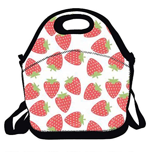 (Amuseds Strawberry vector Decorative Reusable Top Quality Lunch Handbags Portable Lunch Tote Food Container Gourmet Tote Cooler Warm Pouch for School Work Office)