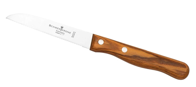 Schwertkrone Gemusemesser Wellenschliff Messer Holzgriff