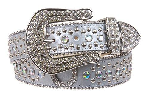 Snap on Western Rhinestone Silver Circle Studs and Horseshoes Decoration Genuine Leather Belt Size: M/L - 35 Color: Silver (Decoration Genuine Leather Belt)