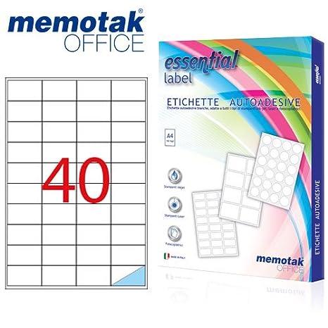 Scatola da 100 fogli A4 Etichette adesive Memotak formato in millimetri 190 x 61 400 etichette per scatola