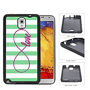 Teal Striped Love Infinity Symbol Rubber Silicone TPU Cell Phone Case Samsung Galaxy Note 3 III N9000 N9002 N9005