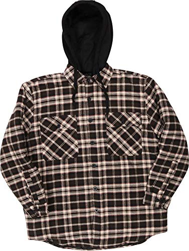 Woodland Supply Co. Men's Quilted Lined Flannel Plaid Check Hooded Long Sleeve Button-Down Shirt Jacket,X-Large,Juniper ()
