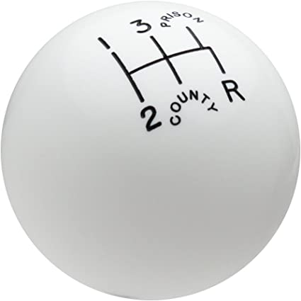 Speed Dawg SK501-CPW-5RDR Traditional Series Black//White County Prison 5-Speed Reverse Lower Right Shift Knob