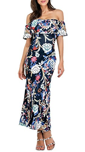 Dress Maxi Homecoming Floral Print Shoulder The Off Dress Women's Party Xh Demetory Bodycon Ruffle anH74x
