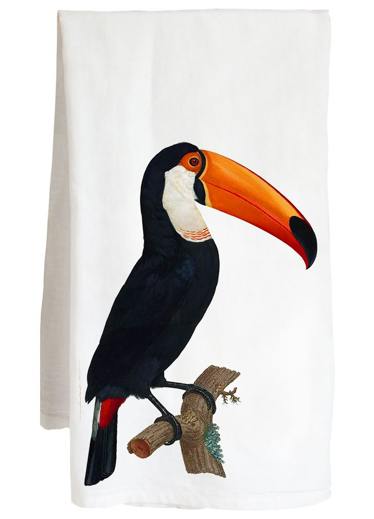 Live Nice TOUCAN VINTAGE ANIMAL - tropical bird - Farm Flour Sack Kitchen Tea Towel