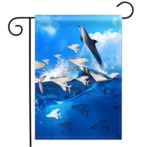 (TSlook Home Double Sided Premium Garden Flag Yard Flag Blue Ocean Dolphin Flying Fish Waves 12