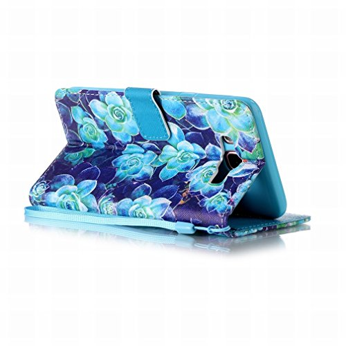 Yiizy Samsung Galaxy J7 (2016) J710 Funda, Blue Rose Diseño Solapa Flip Billetera Carcasa Tapa Estuches Premium PU Cuero Cover Cáscara Bumper Protector Slim Piel Shell Case Stand Ranura para Tarjetas