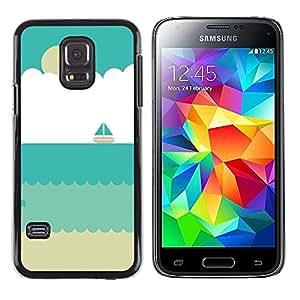 Caucho caso de Shell duro de la cubierta de accesorios de protección BY RAYDREAMMM - Samsung Galaxy S5 Mini, SM-G800, NOT S5 REGULAR! - Sand Sailboat Summer Beach Sun
