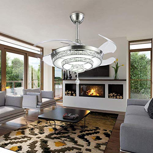 BIGBANBAN Crystal Ceiling Fan with Lights and Remote, 4-Blade Retractable Fan Chandelier LED Indoor Fans Ceiling for Dining Room Bedroom 42 inch Sliver