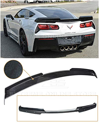 Replacement Rear Spoiler - Extreme Online Store Replacement for 2014-2019 Chevrolet Corvette C7 All Models | Z06 Z07 Stage 2 Style Rear Trunk Lid Wing Spoiler (ABS Plastic - Painted Carbon Flash Metallic)
