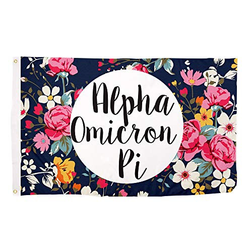 Alpha Omicron Pi Floral Pattern Sorority Flag Banner Greek Sign Decor AOII For Sale