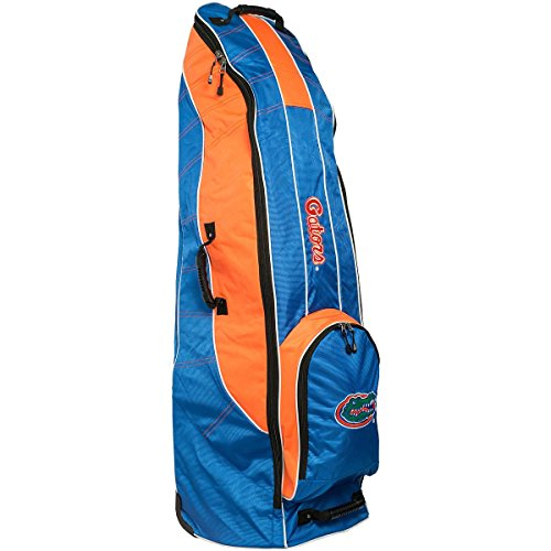 Team Golf NCAA Florida Gators Travel Golf Bag, High-Impact Plastic Wheelbase, Smooth & Quite Transport, Includes Built-in Shoe Bag, Internal Padding, & ID Card Holder