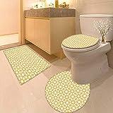 Bathroom Non-Slip Rug Set Traditional Geometry Pattern Moroccan Islamic Ethnic Effects Artwork Earth Yellow in Bath Mat Bathroom Rugs