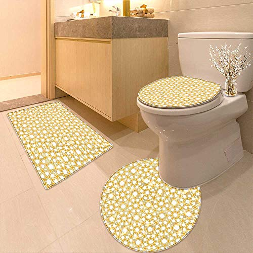 Bathroom Non-Slip Rug Set Traditional Geometry Pattern Moroccan Islamic Ethnic Effects Artwork Earth Yellow in Bath Mat Bathroom Rugs by Printsonne