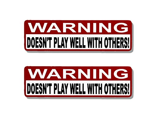 Leathers Hot Helmet Sticker (Hot Leathers, 2 x WARNING DOESN'T PLAY WELL - Bikers Motorcycle Helmet, Sticker DECAL (Pair) - 4