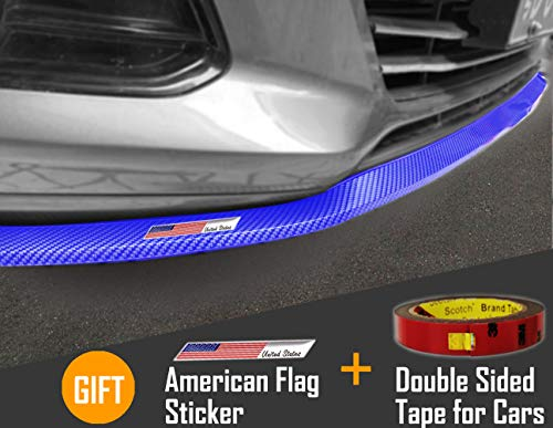 Small Ant Front Bumper Lip Side Skirt Rear Bumper Spoiler with American Flag Sticker and Double Sided Tape for Cars (8.2ft/2.5m Carbon Fiber,Universal Blue)