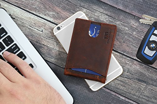 Travel Wallet RFID Blocking Bifold Slim Genuine Leather Thin Minimalist Front Pocket Wallets for Men Money Clip - Made From Full Grain Leather (Canyon Red 1.0) by SERMAN BRANDS (Image #2)