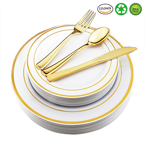 WDF-125 Piece Gold Plastic Silverware Set&Disposable Plastic Plates- Premium Heavyweight Plastic Place Setting include 25 Dinner Plates, 25 Salad Plates, 25 Forks, 25 Knives, 25 - Five Setting Piece Dinner