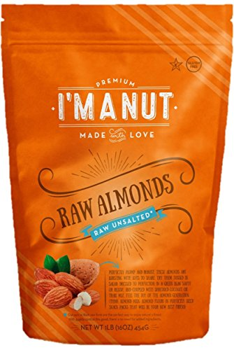 California Raw Almonds 1 Lb Whole,Unsalted,Shelled, Nonpareil Supreme Variety Resealable Bag