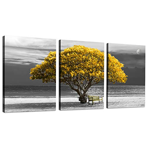 Wall Art for Living Room Decorations Photo Prints - Yellow Tree The Scenery Landscape - Modern Home Decor The Room Stretched and Framed Ready to Hang Artwork - 14