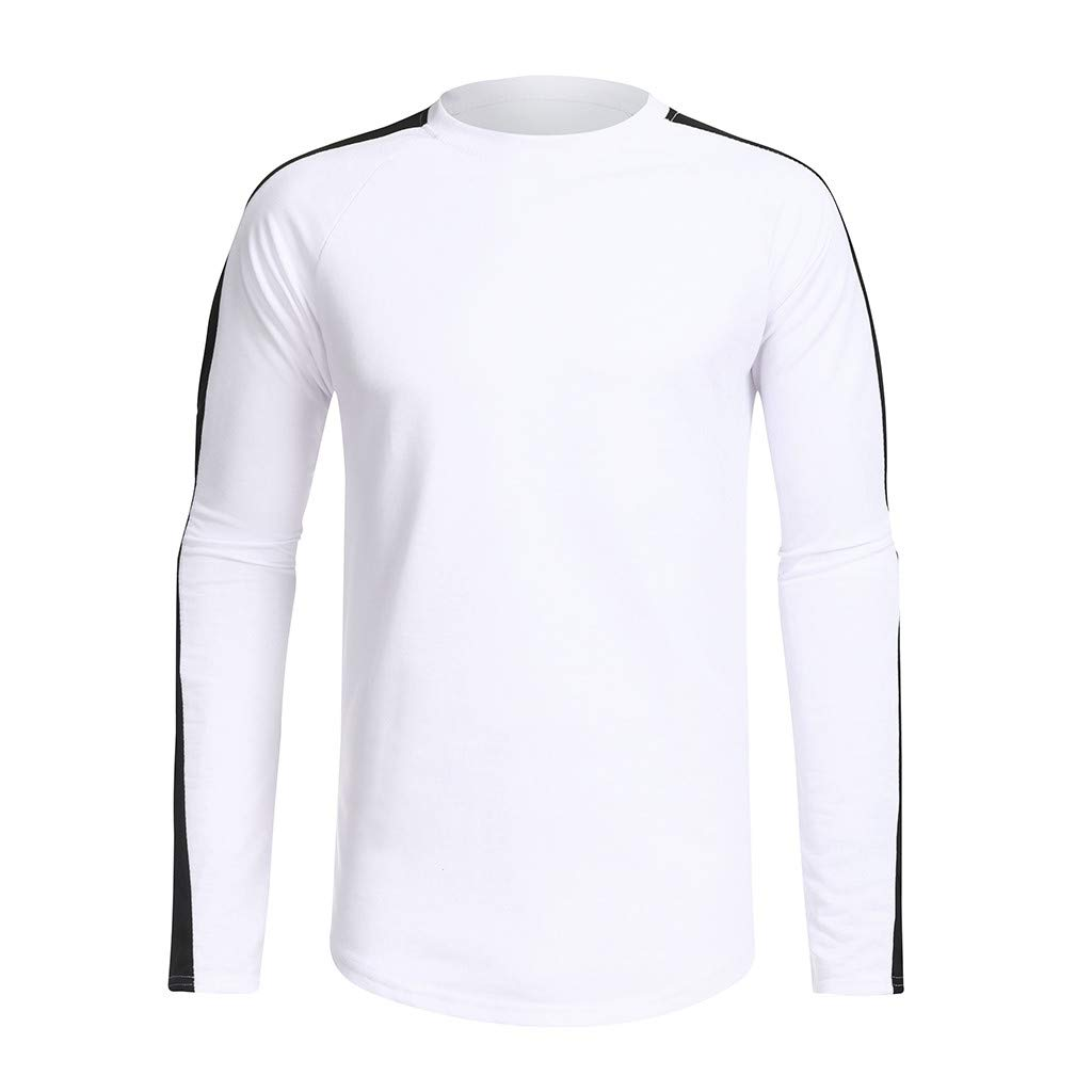 Mr.Macy Mens Fashion Long Sleeve Casual Fit Patchwork O-Neck Sport Tops Blouse