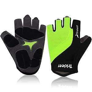 Trideer UltraLight Cycling Gloves (Half Finger) – Breathable Lycra & Anti-Slip Shock - Absorbing Silica Gel Grip, Mountain Road Bike Gloves Men/Women