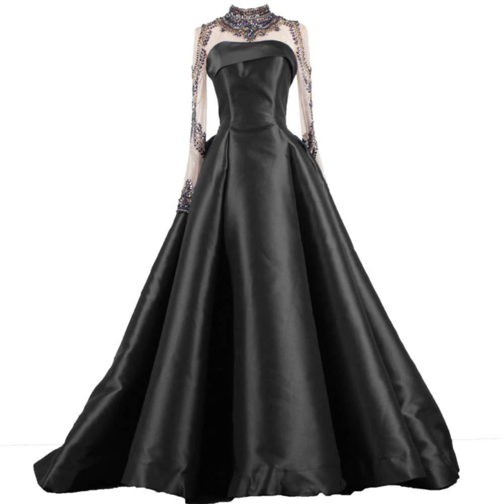 Black Liaoye Long Evening Dress for Women Formal with Sleeves Beaded Prom Dress Mermaid Party Ball Gowns