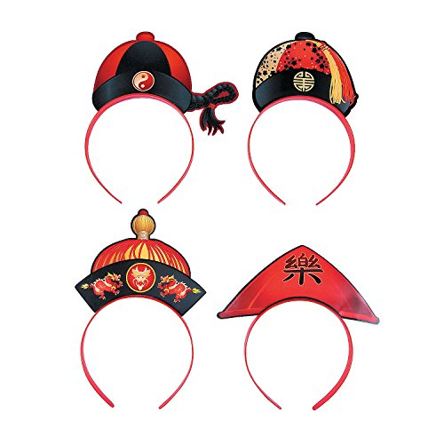 Chinese New Year Hat Headbands - Pack of 12 -