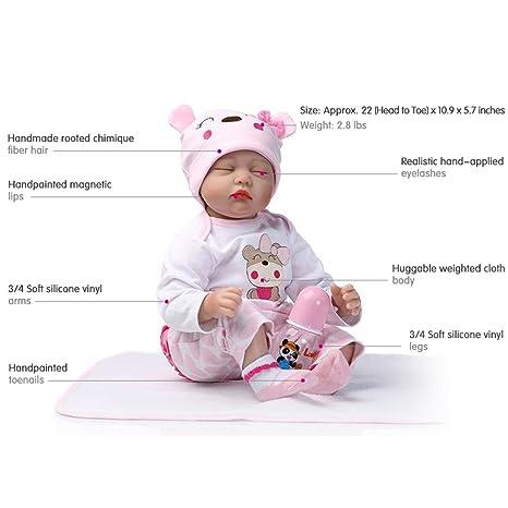 Reborn Muñeca Reale Bebe Silicona Vinilo Ojos Cerrados 55 cm Vestido Rosa: Amazon.es: Juguetes y juegos